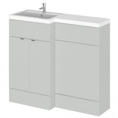 Hudson Reed - Gloss Grey Mist 1000mm Combination Vanity Unit, WC Unit & L Shaped Basin - Full Depth - L H