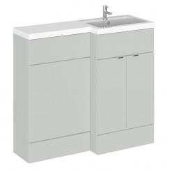 Hudson Reed - Gloss Grey Mist 1000mm Combination Vanity Unit, WC Unit & L Shaped Basin - Full Depth - R H