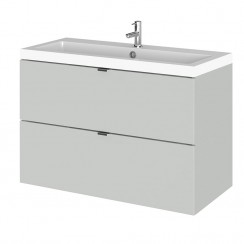 Hudson Reed - Gloss Grey Mist 800mm Wall Hung Combination Vanity Unit & Basin - Full Depth