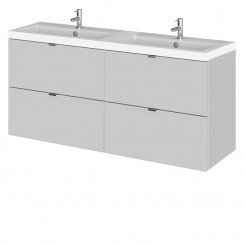 Hudson Reed - Gloss Grey Mist 1200mm Wall Hung Combination Vanity Unit & Twin Basin - Full Depth
