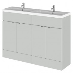 Hudson Reed - Gloss Grey Mist 1200mm Combination Vanity Unit & Twin Basin - Full Depth