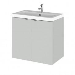 Hudson Reed - Gloss Grey Mist 600mm Wall Hung Combination Vanity Unit & Basin - Full Depth