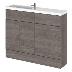 Hudson Reed - Grey Avola 1100mm Combination Vanity Unit, WC Unit & L Shaped Basin - Compact