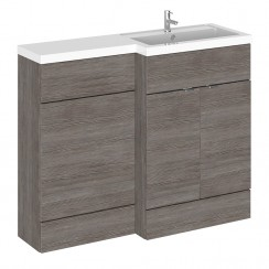 Hudson Reed - Grey Avola 1100mm Combination Vanity Unit, WC Unit & L Shaped Basin - Compact - R H
