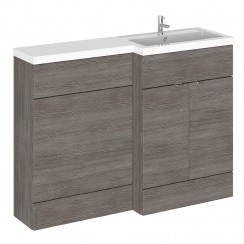 Hudson Reed - Grey Avola 1200mm Combination Vanity Unit, WC Unit & L Shaped Basin - Full Depth - R H