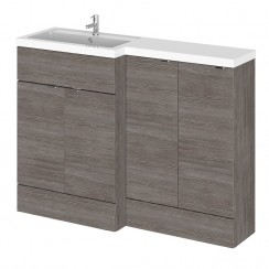 Hudson Reed - Grey Avola 1200mm Combination Vanity Unit, WC Unit & L Shaped Basin - Full Depth - L H