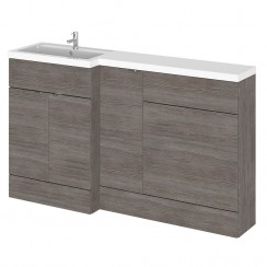 Hudson Reed - Grey Avola 1500mm Combination Vanity Unit, WC Unit & L Shaped Basin - Full Depth - L H