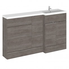 Hudson Reed - Grey Avola 1500mm Combination Vanity Unit, WC Unit & L Shaped Basin - Full Depth - R H