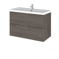 Hudson Reed - Brown Grey Avola 800mm Wall Hung Combination Vanity Unit & Basin - Full Depth