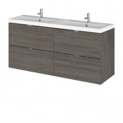 Hudson Reed - Brown Grey Avola 1200mm Wall Hung Combination Vanity Unit & Twin Basin - Full Depth