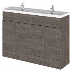 Hudson Reed - Brown Grey Avola 1200mm Combination Vanity Unit & Twin Basin - Full Depth