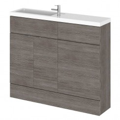 Hudson Reed - Brown Grey Avola 1000mm Combination Vanity Unit, WC Unit & Basin - Slimline