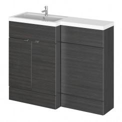 Hudson Reed - Hacienda Black 1100mm Combination Vanity Unit, WC Unit & L Shaped Basin - Compact - L H