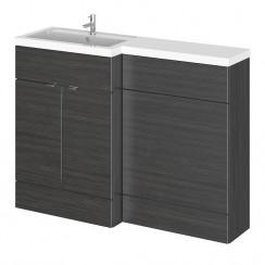 Hudson Reed - Hacienda Black 1200mm Combination Vanity Unit, WC Unit & L Shaped Basin - Full Depth - L H
