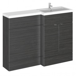 Hudson Reed - Hacienda Black 1200mm Combination Vanity Unit, WC Unit & L Shaped Basin - Full Depth - R H