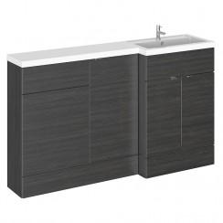 Hudson Reed - Hacienda Black 1500mm Combination Vanity Unit, WC Unit & L Shaped Basin - Full Depth - R H