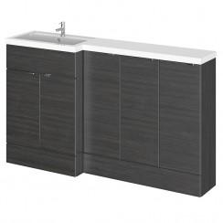 Hudson Reed - Hacienda Black 1500mm Combination Vanity Unit, WC Unit & L Shaped Basin - Full Depth - L H