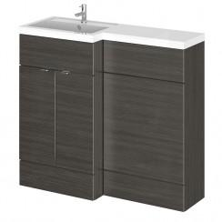 Hudson Reed - Hacienda Black 1000mm Combination Vanity Unit, WC Unit & L Shaped Basin - Full Depth - L H