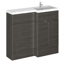 Hudson Reed - Hacienda Black 1000mm Combination Vanity Unit, WC Unit & L Shaped Basin - Full Depth - R H