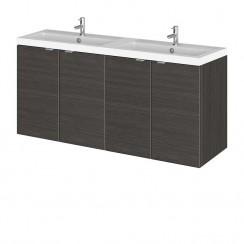 Hudson Reed - Hacienda Black 1200mm Wall Hung Combination Vanity Unit & Twin Basin - Full Depth