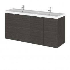 Hudson Reed - Hacienda Black 1200mm Wall Hung Combination Vanity Unit & Twin Basin - Full Depth