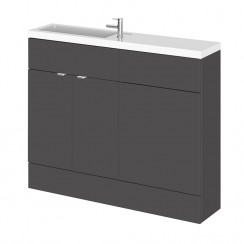 Hudson Reed - Gloss Grey 1100mm Combination Vanity Unit, WC Unit & Basin - Slimline