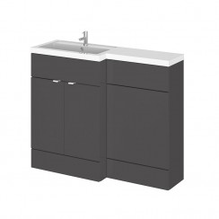 Hudson Reed - Gloss Grey 1100mm Combination Vanity Unit, WC Unit & L Shaped Basin - Full Depth - L H