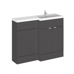 Hudson Reed - Gloss Grey 1100mm Combination Vanity Unit, WC Unit & L Shaped Basin - Full Depth - R H