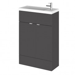 Hudson Reed - Gloss Grey 600mm Slimline Vanity Unit & Basin - Compact