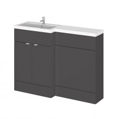 Hudson Reed - Gloss Grey 1200mm Combination Vanity Unit, WC Unit & L Shaped Basin - Full Depth - L H
