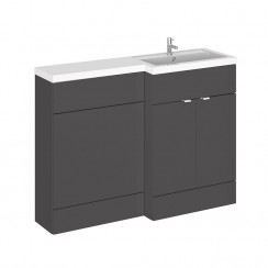 Hudson Reed - Gloss Grey 1200mm Combination Vanity Unit, WC Unit & L Shaped Basin - Full Depth - R H