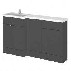 Hudson Reed - Gloss Grey 1500mm Combination Vanity Unit, Base Unit, WC Unit & L Shaped Basin - Full Depth - L H