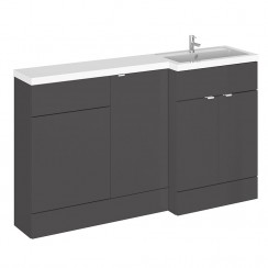 Hudson Reed - Gloss Grey 1500mm Combination Vanity Unit, Base Unit, WC Unit & L Shaped Basin - Full Depth - R H
