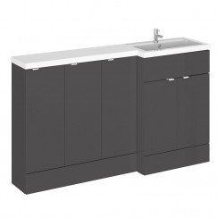 Hudson Reed - Gloss Grey 1500mm Combination Vanity Unit, Base Unit x 3 & L Shaped Basin - Full Depth - R H