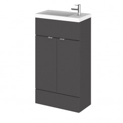 Hudson Reed - Gloss Grey 500mm Combination Vanity Unit & Basin - Slimline