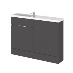 Hudson Reed - Gloss Grey 1200mm Combination Vanity Unit, Base Unit & Basin - Slimline