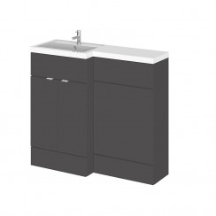 Hudson Reed - Gloss Grey 1000mm Combination Vanity Unit, WC Unit & L Shaped Basin - Full Depth - L H