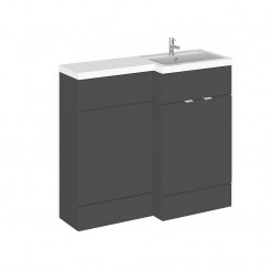 Hudson Reed - Gloss Grey 1000mm Combination Vanity Unit, WC Unit & L Shaped Basin - Full Depth - R H