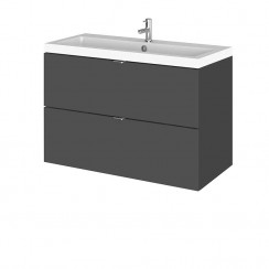 Hudson Reed - Gloss Grey 800mm Wall Hung Combination Vanity Unit & Basin - Full Depth