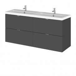 Hudson Reed - Gloss Grey 1200mm Wall Hung Combination Vanity Unit & Twin Basin - Full Depth
