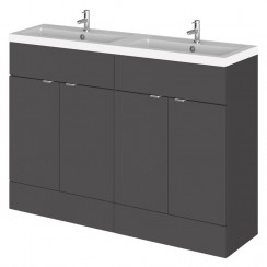 Hudson Reed - Gloss Grey 1200mm Combination Vanity Unit & Twin Basin - Full Depth