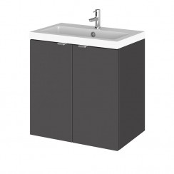 Hudson Reed - Gloss Grey 500mm Wall Hung Combination Vanity Unit & Basin - Full Depth