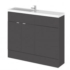 Hudson Reed - Gloss Grey 1000mm Combination Vanity Unit, WC Unit & Basin - Slimline