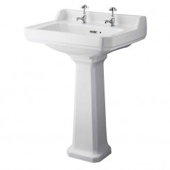 Richmond 600mm Basin & Comfort Height Pedestal (2 Tap Hole)
