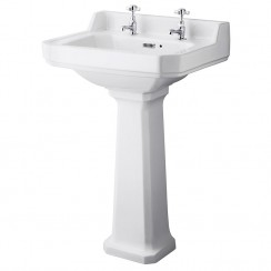 Richmond 560mm Basin & Comfort Height Pedestal (2 Tap Hole)