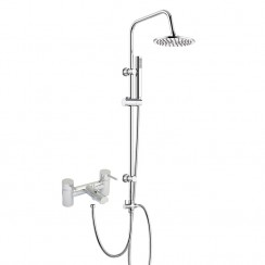 Charlton Bath Shower Mixer Tap with 3 Way Round Rigid Riser Rail Kit