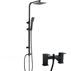 Chelsea Matt Black Modern Square Bath Shower Mixer Tap & 3 Way Square Rigid Riser Rail Kit