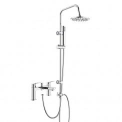 Drift Bath Shower Mixer Tap with 3 Way Round Rigid Riser Rail Kit