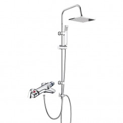 Eaton Thermostatic Bath Shower Mixer Tap with 3 Way Square Rigid Riser Rail Kit