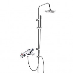 Eaton Thermostatic Bath Shower Mixer Tap with 3 Way Round Rigid Riser Rail Kit